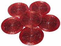 6 Christmas Maroon Beaded Coasters Luxury Round Glass Coffee Table Drink Cup Mat