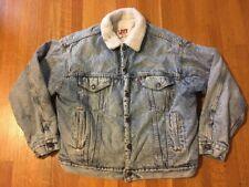 Vintage Levi's Sherpa Lined Acid Wash Denim Jean Jacket Men's L USA Distressed