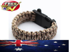 PARACORD BRACELET 550 CAMO PREPPER HUNTING SURVIVAL FISHING TACTICAL & WHISTLE