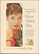 1957-Vintage ad for Dorothy Gray`Make-up Fashion, roses`Sexy Model (051415)