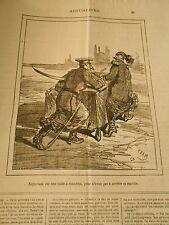 Caricature 1878 - Négociant sur une table à roulettes pour pas arreter sa marche
