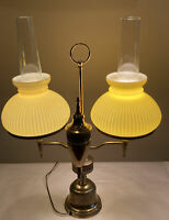 Vintage Brass Triple Arm Student Table Yellow Globes Electric Hurricane Lamp