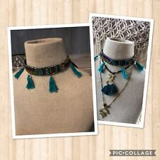 NWT FREE PEOPLE Choker Necklace, Beaded, Tassels Medallions Boho-Warrior-Goddess
