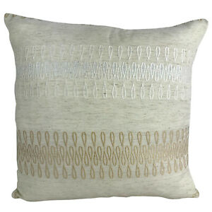 "BEIGE WITH GOLD / WHITE DETAIL CUSHION COVERS / FILLED CUSHIONS 17"" X 17"" INCH"