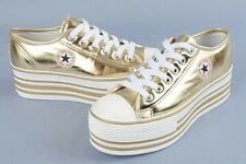 MAX Women Sneakers Shoes Platform Athletic Trainer Casual Flats Lace Gold Silver