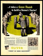 1948 Oliver Tractor Vintage PRINT AD Agriculture Farm Machinery Illustration Art