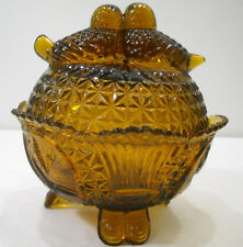 Hofbauer Byrdes Amber Glass 3 Footed Candy Dish With Love Birds On Lid 4 Lbs