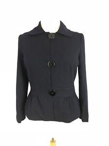 Talbots Women Jacket Wool Peplum 3 Button Blue Career Separates Size 12