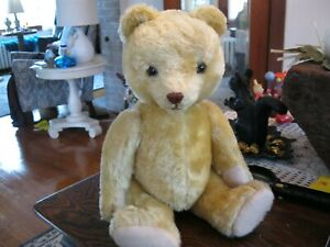 vintage straw filled large teddy bear jointed 18 inches tall