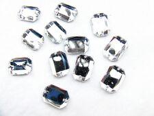 80 Clear Crystal Beads Acrylic Rhinestone Gems 10x14 mm Oblong Flat Back Sew On