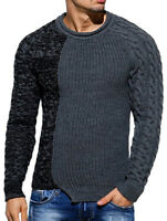 Mens Chunky Cardigan Sweater Spliced Knitted Jumper Jacket Warm Tops New Fashion