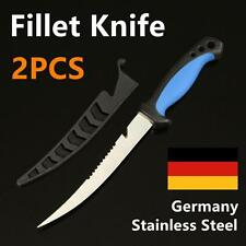 "2X 7"" Fish Filleting Fillet Knife GERMAN STAINLESS STEEL Fishing Diving Hunting"