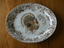 Williams Sonoma Plymouth Turkey Serving Platter-Thanksgiving-Leaves & Acorns-New