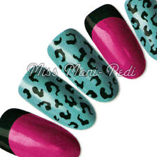 Nail Art Water Transfers Stickers Wraps Decals Black Animal Leopard Tips H037