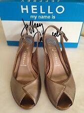 Jeffrey Campbell Women's Shoes Susan Pewter Leather Open Toe Slingback Sz 8.5