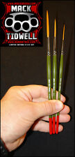 """Mack Tidwell Brush Set of 3 """"Five Speed, Heavy & One-Liner"""" Pinstriping Brushes"""