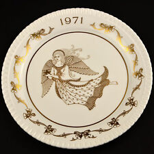 Spode Collector Plate 1971 Porcelain Christmas Angel Bone China England Gold and