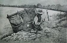 Friedrich SCHAPER (1869-1956) große Radierung: BAUER BEI DER FELDARBEIT
