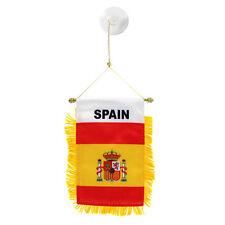 Spain Spanish MINI BANNER FLAG CAR & HOME WINDOW MIRROR HANGING 2 SIDED