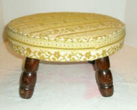 Vintage Foot Stool Round Fabric Top Wooden Legs 15""