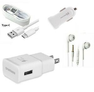 OEM SAMSUNG FAST WALL+CAR ADAPTER+TYPE C+HEADSET FOR GALAXY S8,S9,S10+ (WHITE)