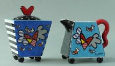 "Romero BRITTO Pop Art lo zucchero del latte Set Cuore ""Flying Hearts"" arte scultura 1"