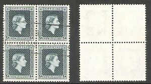 NEW ZEALAND 1954 3/- GREY OFFICIAL BLOCK OF 4 (VF) (REF:H554) CP NO39a