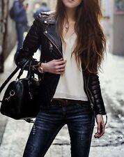 Women's Ladies Quilted Black Lamb Skin Designer Fashion Leather Jacket