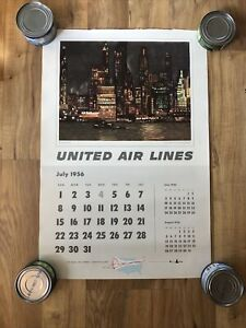 16x24 1956 United Airlines Calendar Print-Manhattan Skyline Night-Millard Sheets