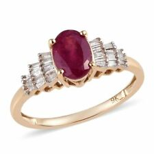 *** SALE *** 1.25ct AAA African Ruby and Diamond 'Ballerina' Ring 9k Y Gold #O