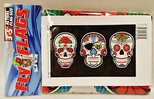 1 Sugar Skull Multi Colored Indoor or Outdoor Flying Flag 3x5ft Banner