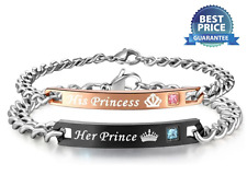 Mens and Womens Bracelets Stainless Steel Bracelet His Princess & Her Prince