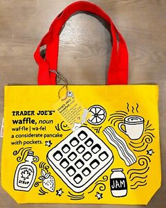 2x Trader Joes Reusable Bag Breakfast Waffle Toast Milk Yellow Red