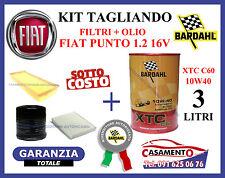 KIT TAGLIANDO FILTRI + OLIO BARDAHL 10W40 FIAT PUNTO 1.2 16V 59 kw