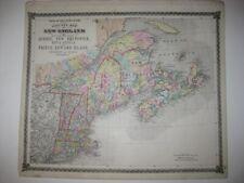 HUGE ANTIQUE 1875 NEW ENGLAND MAP MAINE CONNECTICUT MASSACHUSETTS VERMONT MAP NR