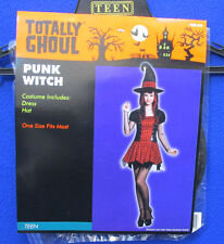 Punk Witch Hat Halloween Costume Accessory Black w/ Red Plaid NOS Totally Ghoul