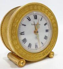 OLD VINTAGE SWISS BRASS TIFFANY & COMPANY TRAVEL ALARM CLOCK  Rare