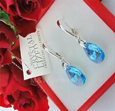 925 SILVER EARRINGS CRYSTALS FROM SWAROVSKI® PEAR/ALMOND AQUAMARINE AB 16mm