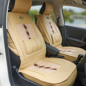 1x Beige PU Car Front Seat Cover Mat Head Waist Protector Back Support Pillow