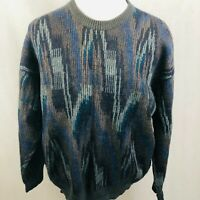 Bullock & Jones Sweater Large Mens Blue Brown Knit Mohair Blend Vintage Cosby