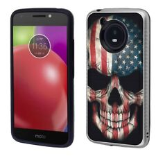 for Moto E4 (USA Skull)Silver Brushed Armor phone case cover