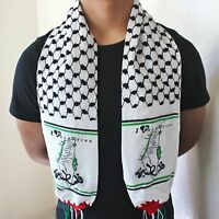 New Palestine Flag Neck Scarf (I Love Palestine) / Authentic Shemagh Kuffiyeh