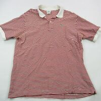 Lacoste Men's Polo Shirt Sz 7 Large Red White 100% Cotton Golf Stripes Casual