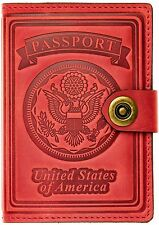 Villini Leather US Passport ID Card Holder Travel Wallet Case For Men Women RED