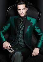 Peak Lapel Smoking Green Business Jacket Blazer Party Suits Men Slim Fit Custom