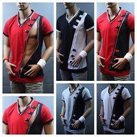 Men V-Neck  Long Zipper  T-Shirt  Fashion Tee Casual  Shirts  Short Sleeve V-102