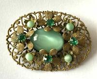 Brooch Vintage Czech Green Gold Tone Filigree Moonglow Glass Art Deco Rhinestone