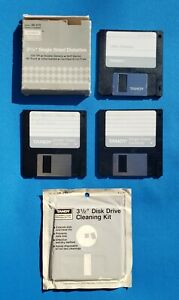 """TANDY 3 ½"""" Single Sided Diskettes 26-415 + Disk Drive Cleaning Kit 26-271"""