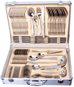 NEW 72 PC SILVER CUTLERY SET 18/10 STAINLESS STEEL TABLE CANTEEN CHRISTMAS GIFT