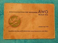 BETRIEBSANLEITUNG SIMSON AWO 425 ORIGINAL Motorrad 1951 DDR